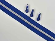 endlos Reißverschluss metallisiert SILBER 6,5 mm Spirale + 3 Schieber, marine blau