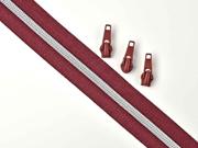 endlos Reißverschluss metallisiert SILBER 6,5 mm Spirale + 3 Schieber, weinrot