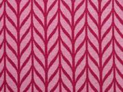 RESTSTÜCK 40 cm Jacquardjersey Maxi Knit Hamburger Liebe, beere rosa melange