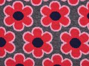 HH Liebe Happy Bloom Jacquard Blumen grau rot