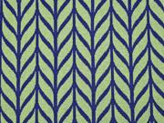 RESTSTÜCK 97 cm Bio-Jacquard Hamburger Liebe Maxi Knit, grün