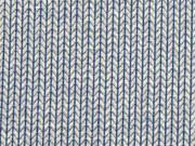 Jacquard Knit Knit HH Liebe, ecrue jeansblau