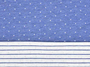 Doubleface Bio-Jacquard Hamburger Liebe Punkte Streifen, blau
