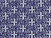 C.Pauli Baumwolle (Bio) Popelin Onamente, blau/beige