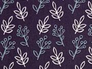 Bio-Baumwolle Blatt und Traube C.Pauli , lila
