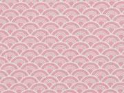 Baumwolle kleine Wellen, weiß rosa
