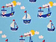 Baumwolle Cozy Boats, hellblau
