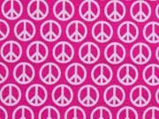 Jersey Peace Lycklig Design, weiss auf pink
