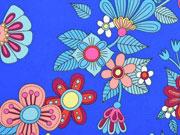 Baumwollstoff opulente Blumen Hamburger Liebe, royalblau