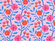 Baumwollstoff Kreisblumen Zweige Hamburger Liebe, rosa
