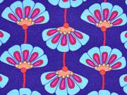 RESTSTÜCK 26 cm Jersey HH Liebe Allegria Fächerblumen, lilablau