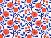 Jersey HH Liebe Bacini Blumen & Zweige, weiss