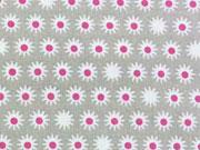 BW Sternblümchen - weiss/pink auf helltaupe
