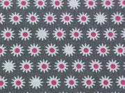 BW Sternblümchen - weiss/pink auf dunkelgrau