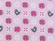 BW kleine Vögel & Blumen, pink/grau auf rosa
