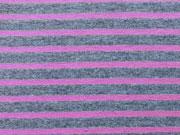 RESTSTÜCK 65 cm Jersey Streifen graumelange/ pink