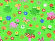 Baumwollstoff Frösche Pilze Blumen, rosa hellgrün