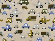 Baumwollstoff Fahrzeuge, beige