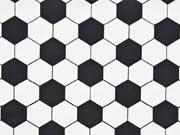 Reststück 74 cm Baumwolle Fußball Muster, schwarz weiß