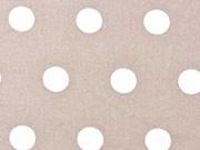 beschichtete Baumwolle Punkte 1,6cm, weiß auf beige