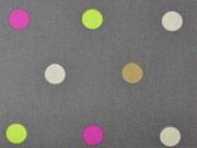 RESTSTÜCK 47 cm beschichtete Baumwolle Punkte 1,8cm, bunt auf grau