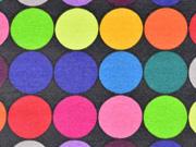 beschichtete Baumwolle Altay bunte Kreise, schwarz