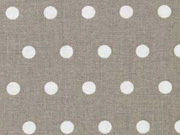 RESTSTÜCK 31 cm beschichteter Baumwollstoff Punkte 6mm, weiß auf taupe