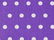 beschichtete Baumwolle Punkte 6mm, weiß auf lila