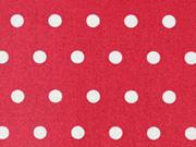 beschichtete Baumwolle Punkte 6mm, weiß auf rot