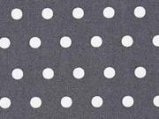 RESTSTÜCK 46 cm beschichtete Baumwolle Punkte 6mm, weiß dunkelgrau