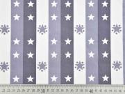 Baumwollstoff Sterne Streifen Stenzo, weiß grau