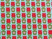 BW Mini Tulpen & Herzen, rot/grün auf helltürkis