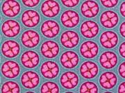 RESTSTÜCK 88 cm Baumwollstoff Kleeblätter im Kreis, rosa pink auf hellgrau