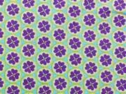 BW Kleeblätter im Kreis, hellblau/lila auf türkis