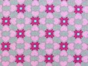 BW Herzen & Blümchen, rosa/pink auf grau