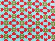 BW Herzen & Blümchen, rot/grün auf helltürkis
