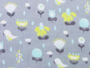 Baumwollstoff Voile Vögel & Blumen, grau mint