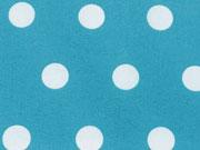beschichtete Baumwolle Punkte 1,7cm, weiß petrol