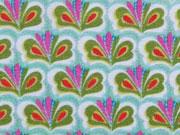 Baumwollstoff Blumen Fächermuster, khaki pink rauchblau