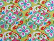 Thea Baumwolle Blumenmuster, senfgelb/khaki