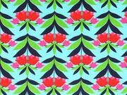 Jersey Daydream opulentes Blumenmuster, helltürkis