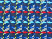 Feincord Lila Lotta kleingemustert, rot blau grau
