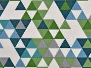 beschichtete Baumwolle Leona Dreiecke, blau grün creme