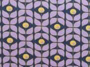 Jersey Retroblumen, flieder dunkelblau