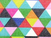 RESTSTÜCK 42 cm beschichteter Baumwollstoff bunte Dreiecke Leona, bunt gruen