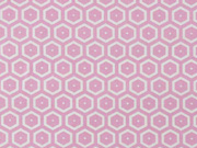 beschichtete Baumwolle Waben, weiß rosa