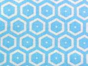 RESTSTÜCK 34 cm beschichtete Baumwolle Waben,hellblau