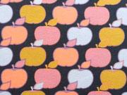 RESTSTÜCK 138 cm Sweat Stoff Äpfel Blätter, aprikot ockergelb dunkelblau