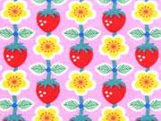 Jersey Erdbeeren Butterblumen Jolijou, rosa