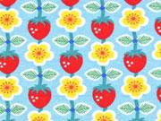 RESTSTÜCK 24 cm Jersey Erdbeeren Berrylove Jolijou, hellblau